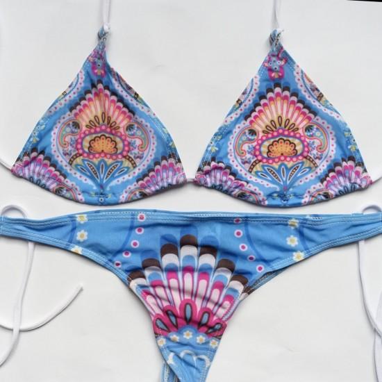 Голубой с орнаментом бикини купальник пропускающий загар Suntan